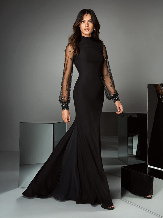Front of black evening gown with high neckline Pronovias