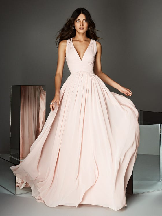 Front of light pink formal party dress with sexy straps Pronovias