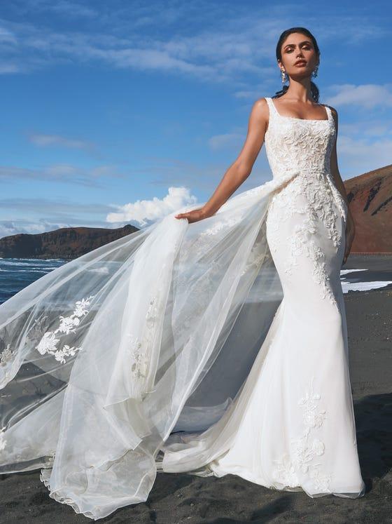 parte delantera vestido novia sirena tul bordado bohol
