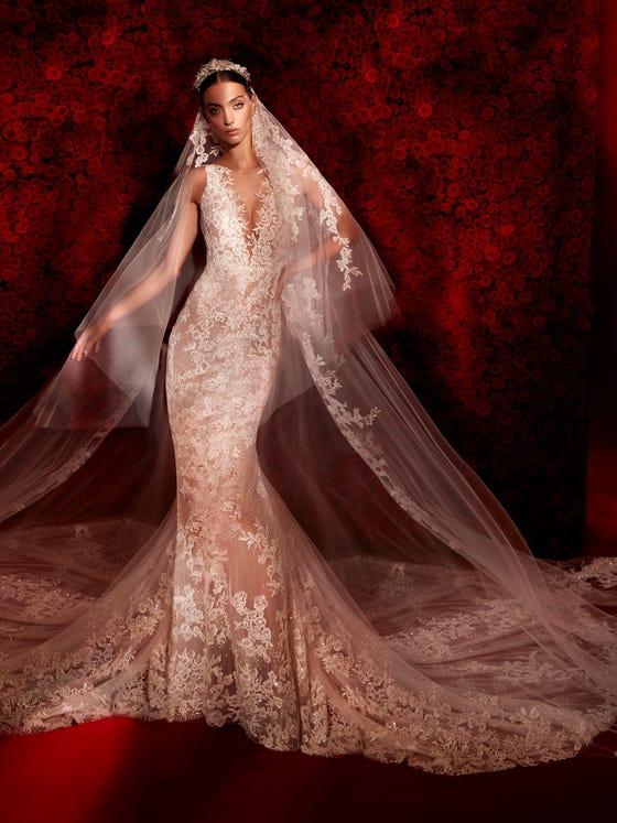 parte delantera vestido novia sirena escote pico dessay