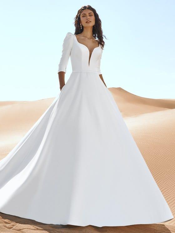 parte delantera vestido novia a line escote corazon manga tres cuartos geyser