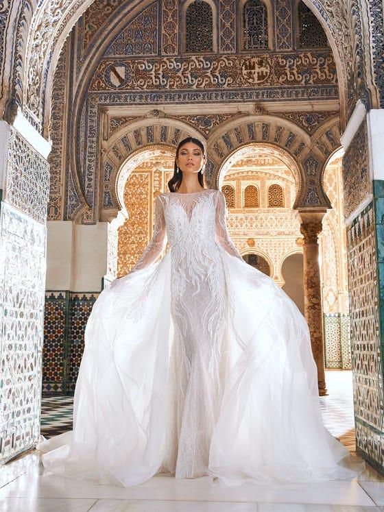 parte delantera vestido novia recto manga larga encaje karnur