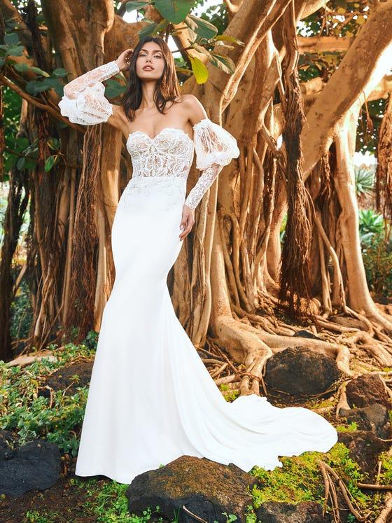 parte delantera vestido novia sirena escote corazon crepe masazir