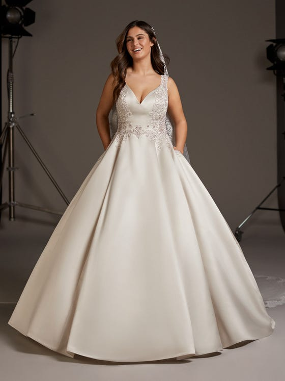 Front of Satin princess wedding dress with keyhole back. Extended Size available| Pronovias Pronovias