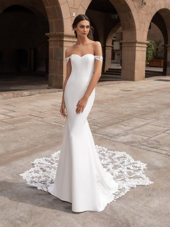 parte anteriore abito sposa tessuto crêpe sirena manichette syrinx