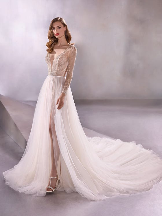 front evasé wedding dress v neck long sleeves embroidered tulle fabric wandering star
